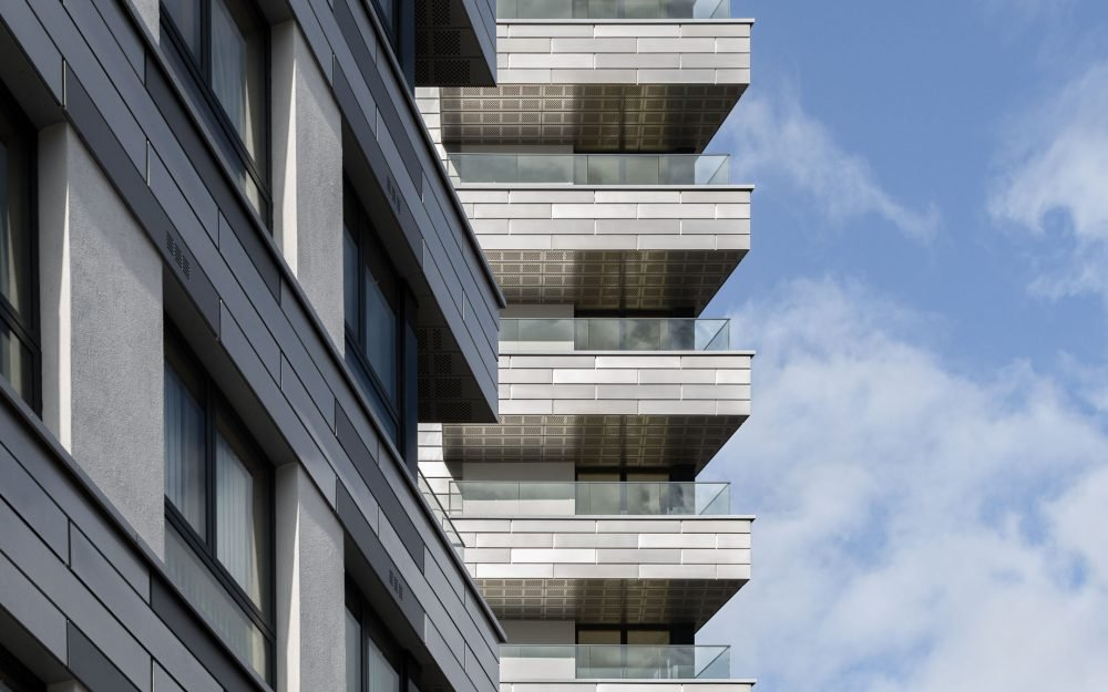 High-rise apartment showing cladding details