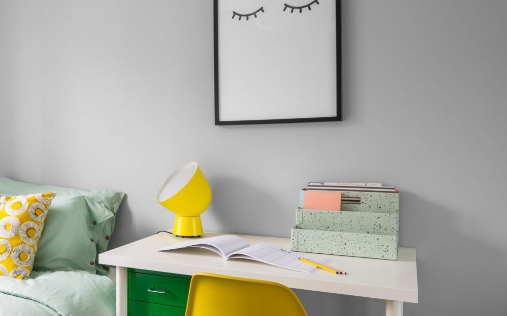 Home office desk with yellow chair