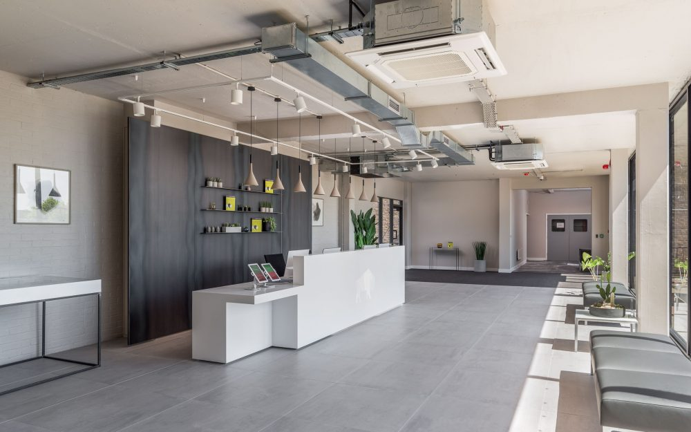 Refurbished business centre reception space