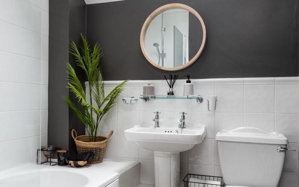 Grey and white bathroom interior design